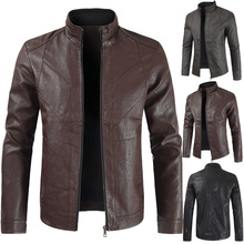 2019 Mens New Best Selling Explosions Leather Stand Collar Solid Color Jacket Business Fashion