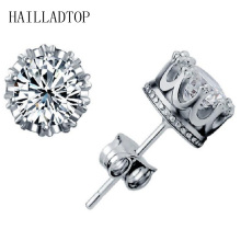 Fashionable Full Crystal Stud Earring With CZ Diamonds Lady Crown Earring Trendy Coroa Brincos Pendiente Women Men Earrings