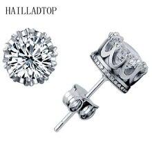 Fashionable Full Crystal Stud Earring With CZ Diamonds Lady Crown Earring Trendy Coroa Brincos Pendiente Women Men Earrings