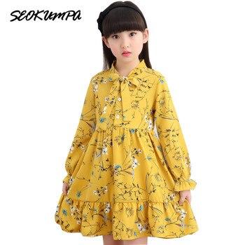 Платье для девочек; сезон весна; коллекция 2019 года; модная детская одежда; детское платье с цветочным рисунком; шифоновый костюм принцессы; ...