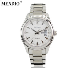 2016 MENDIO Brand Men Business Automatic Mechanical Watches Stainless Steel Watchband Fashion Wristwatch Gift for Father 1008