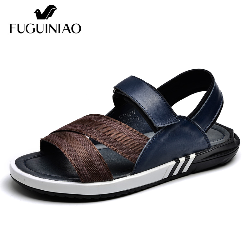 Free shipping FUGUINIAO fashion Genuine Leather Summer Leisure Men s sandals color black blue Size 38