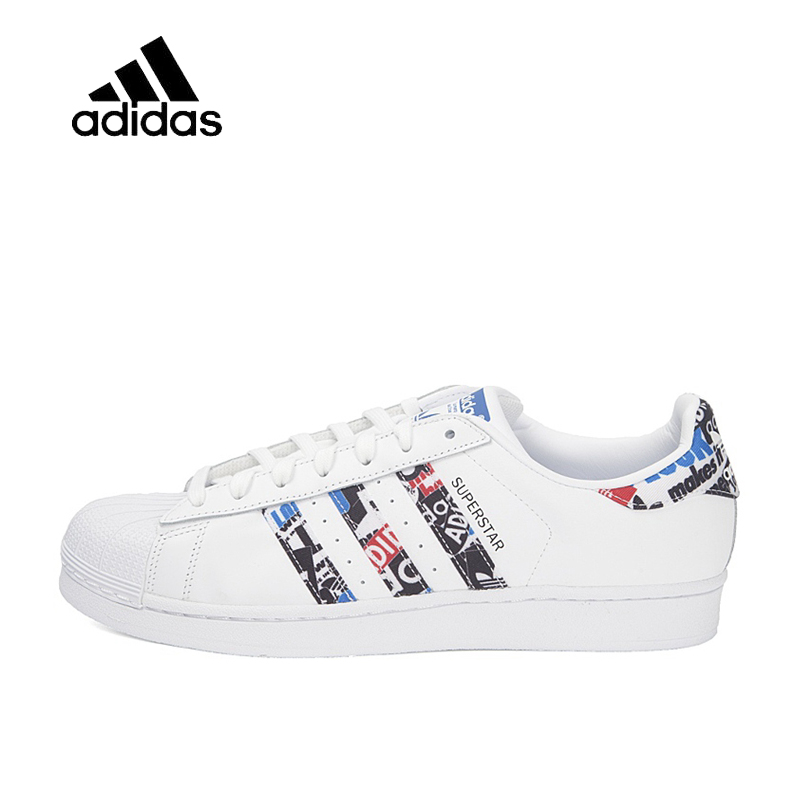 купить Original New Arrival Official Adidas Clover SUPERSTAR Men and Women Skateboard Shoes Classic breathable shoes outdoor anti-slip