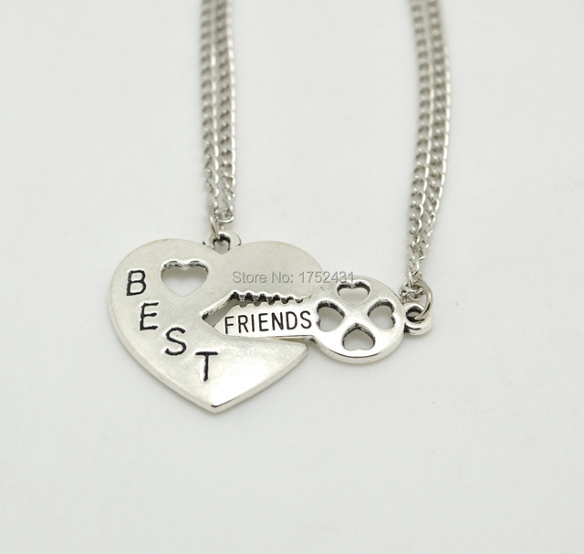 1pair 2015 Best Friends Long Chain Necklaces Key Inset Heart Meaning