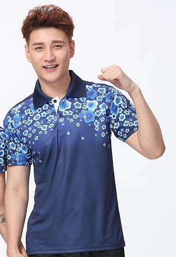 Футболка для настольного тенниса/бадминтона, футболка для бадминтона, ТЕННИСНАЯ СПОРТИВНАЯ ОДЕЖДА Джерси, быстросохнущие дышащие футболки для команды пинг-понга - Цвет: men deepblue shirt