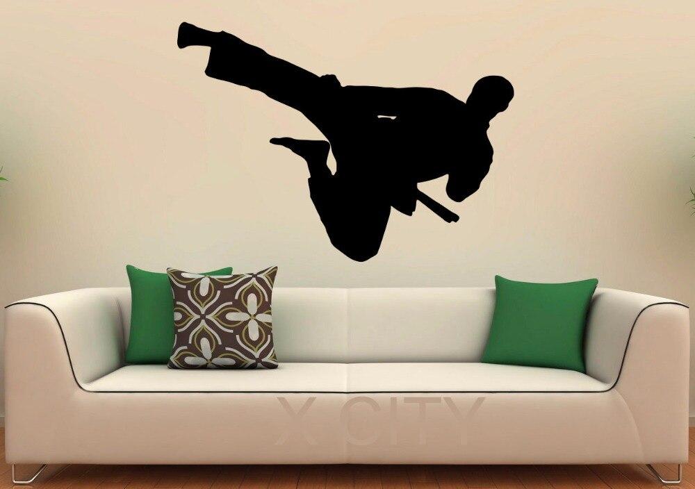 Karate Wall Decal Kick Silhouette Vinyl Stickers Origent