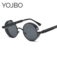 YOJBO Steampunk Sunglasses Mirror Coating Women Mens Summer Alloy Ladies Sun Glasses Round Eyewear Brand Designer Glasses