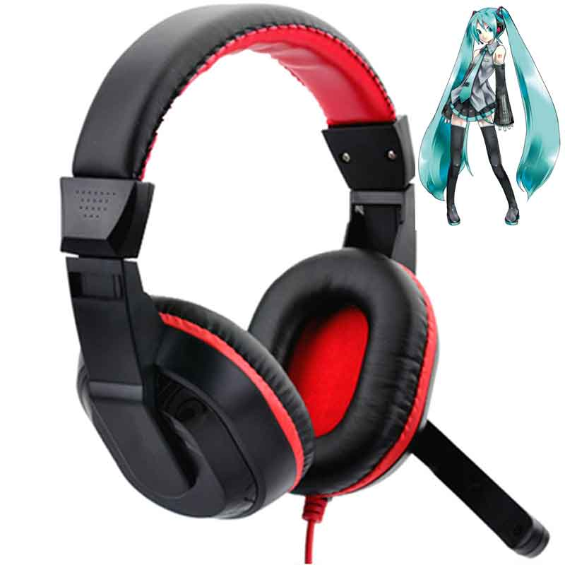MLLSE Anime Hatsune Miku Stereo Bass Headphones PC Gaming Earphone with Mic Wired Phone Headset for Iphone Samsung MP3 Player 2017 hoco professional wired gaming headset bass stereo game earphone computer headphones with mic for phone computer pc ps4