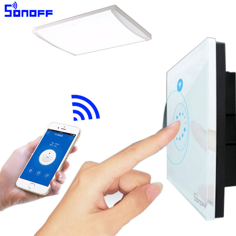 Sonoff touch wifi switch luxury glass1 gang1way wall for Picture on wall app