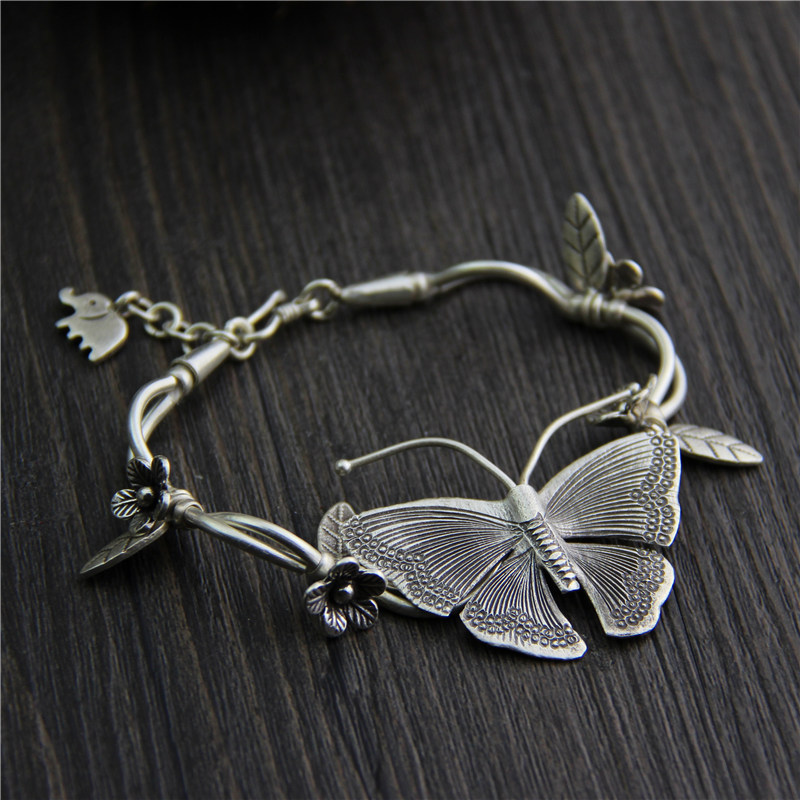 Handmade Real 925 Sterling Silver Bracelets For Women Butterfly And Flower Vintage Ethnic Style Personalized Bracelet