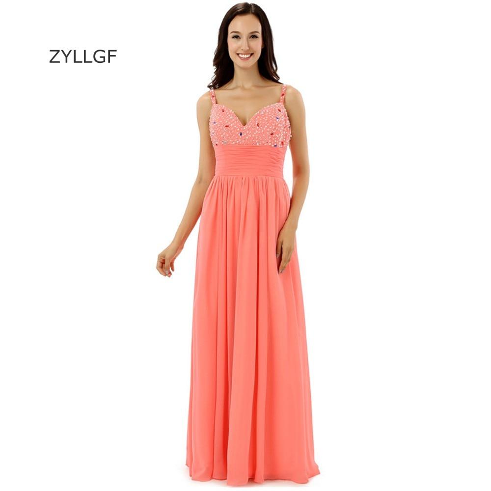 ZYLLGF Abiti Da Cerimonia Da Sera Sheath V Neck Straps Long Beaded   Bridesmaid     Dresses   African Party Gowns With Crystal Q197