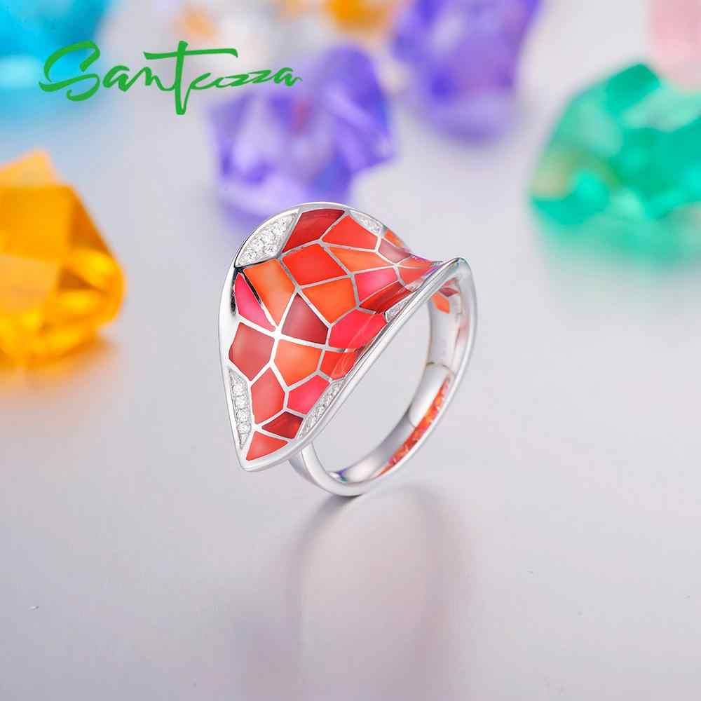 Santuzza Cincin Perak untuk Wanita 925 Sterling Perak Merah Tidak Teratur Blok 2018 Cubic Zirconia Perhiasan Pesta Enamel Buatan Tangan