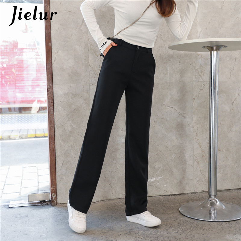 Jielur Summer Women's   Wide     Leg     Pants   Solid Color Casual Pockets Straight   Pants   Office Ladies Simple Korean 2019 Loose Trousers