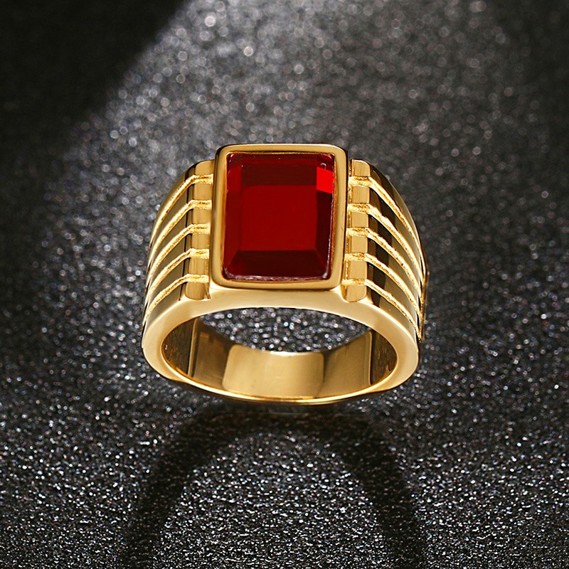 Heyrock Big Red Stone Rings for Men Jewelry Cool Golden Rings ...