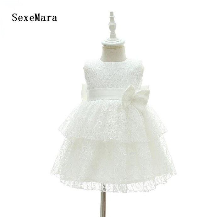 Nouveau bébé fille 1 an robes d'anniversaire infantile princesse dentelle arc robe de baptême enfant en bas âge Bebes vêtements de baptême robe de noël