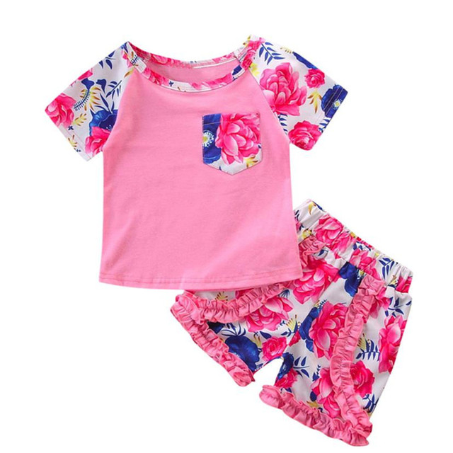 fee38e92 ARLONEET Girl Tops Shorts Set Clothes 2PCs Baby Girls Flower PrintTops+Short  Pants Clothes Set 1 to 5 Years Drop Shipping 30S67