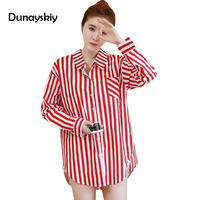 Autumn New Fresh Red White Striped Women Shirts Long Sleeves Blouses Turn Down Collar Shirt All