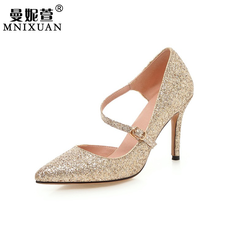 New arrival 2017 women shoes pumps pointed toe high heel bling sequin sexy wedding shoes bridal party super high heels big size plus big size 34 52 shoes woman 2017 new arrival wedding ladies high heel fashion sweet dress pointed toe women pumps e 177