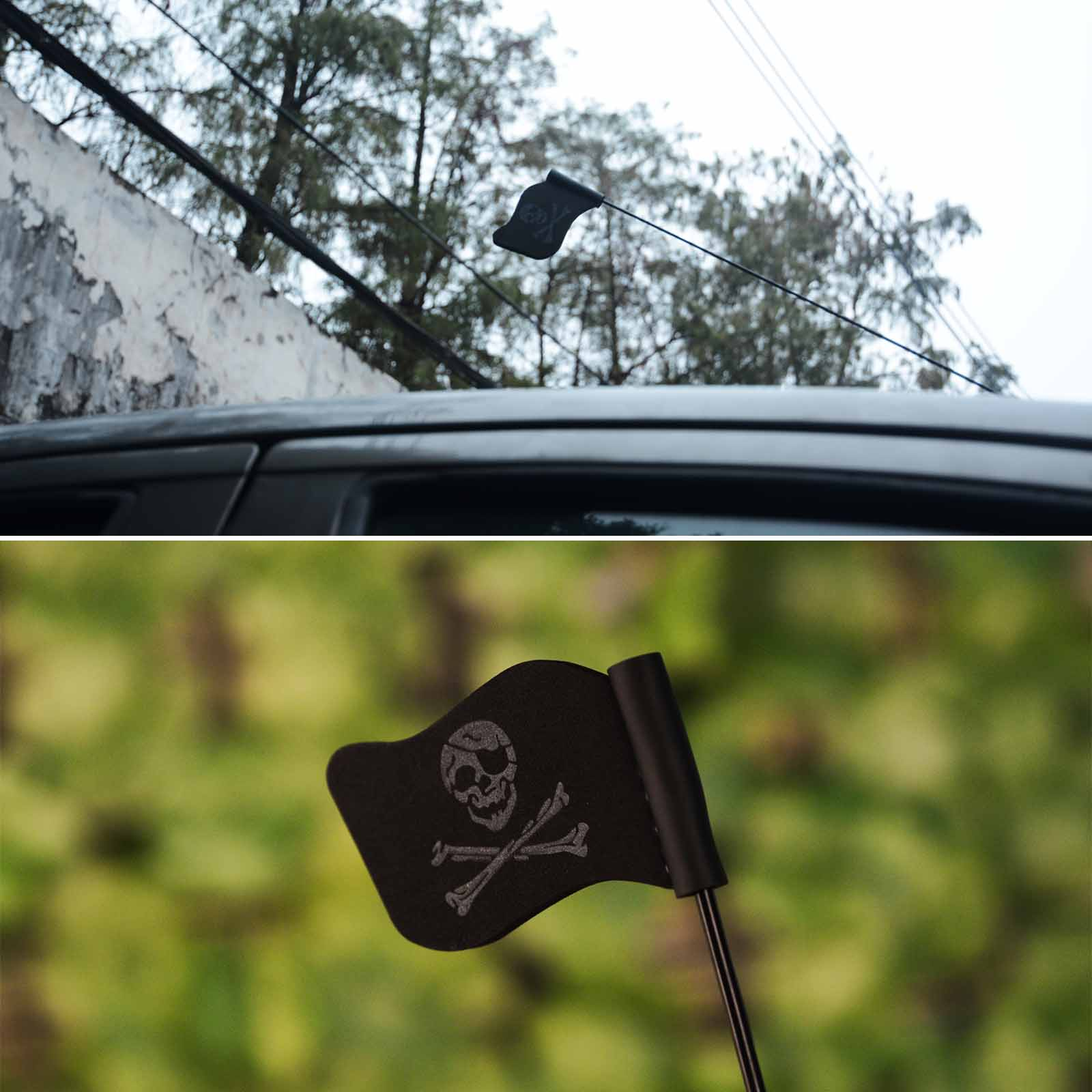 Het Beste Mayitr Halloween Zwarte Mini Schedel Vlag Auto Antenne Pen Topper Antenne Bal Decor Speelgoed Autodak Decoratie