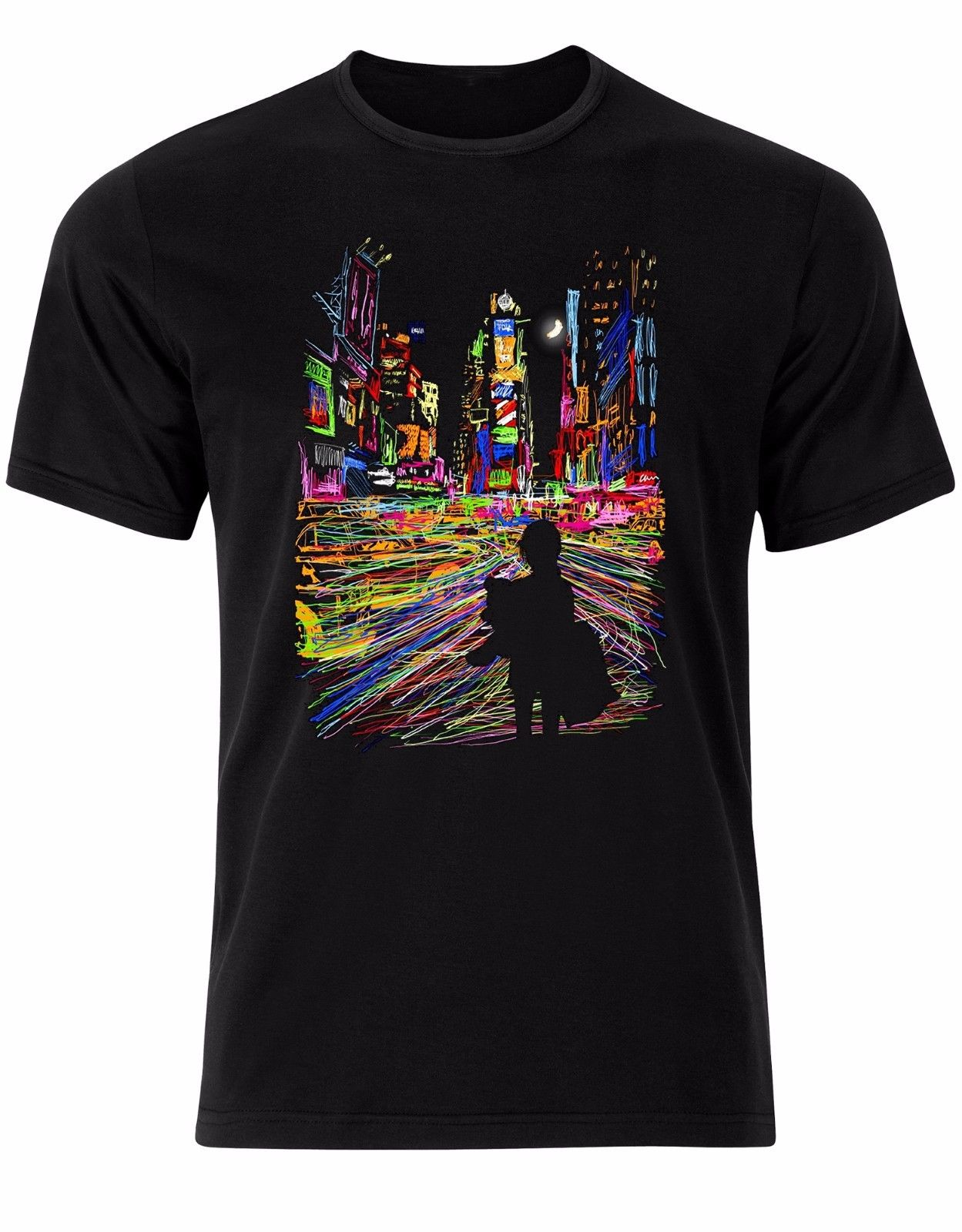 Mens Cotton Short Sleeve City Lights Moon Night Neon Colours Dreams Pillow Mens Tshirt Tee Top AL65