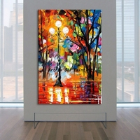 Arthyx Paintings Palette Knife Street Lamp Landscape Picture Handpainted Modern Abstract Canvas Oil Painting Home Decor For Room