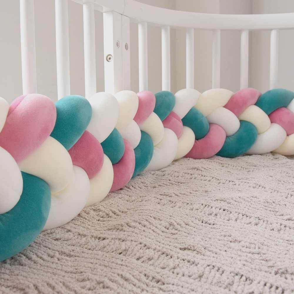 220cm length Baby Bed Bumper Four Ply Braided Pillow Cushion Weaving Plush Baby Crib Protector Infant Bedding Accessories  ZT21