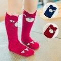 Mamimore Algodón de Los Niños Calcetines Calcetines Hasta La Rodilla Niñas Calcetines de Dibujos Animados de Color Rojo y Azul para el Bebé Lindo Corea Nuevas Llegadas meias