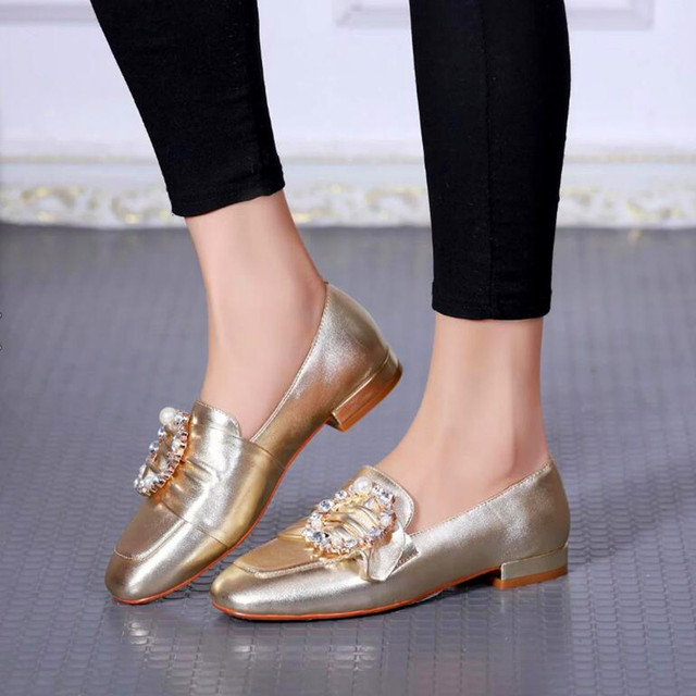 Spring Autumn Genuine Leather Women Slip On Shoes In Gold Sliver Black Fashion Rhinestone Pearl Decor Ladies Casual Loafers