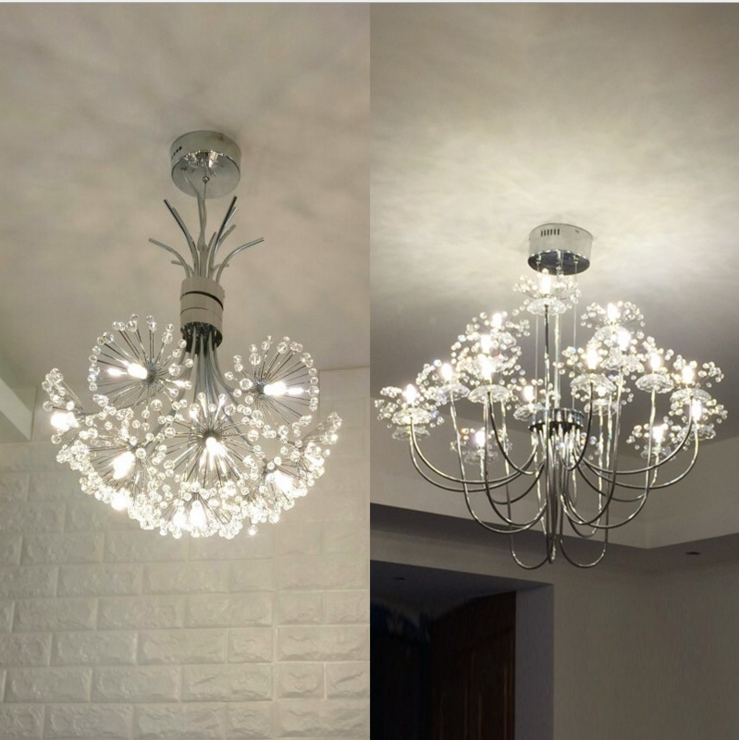 Chandelier Dandelion Led Crystal Bedroom Chandeliers Room Light Dining Lights Contemporary Creative European Warm Modern Living hghomeart modern chandelier light led contemporary gold crystal chandeliers lustre nursery suspension for living dining room