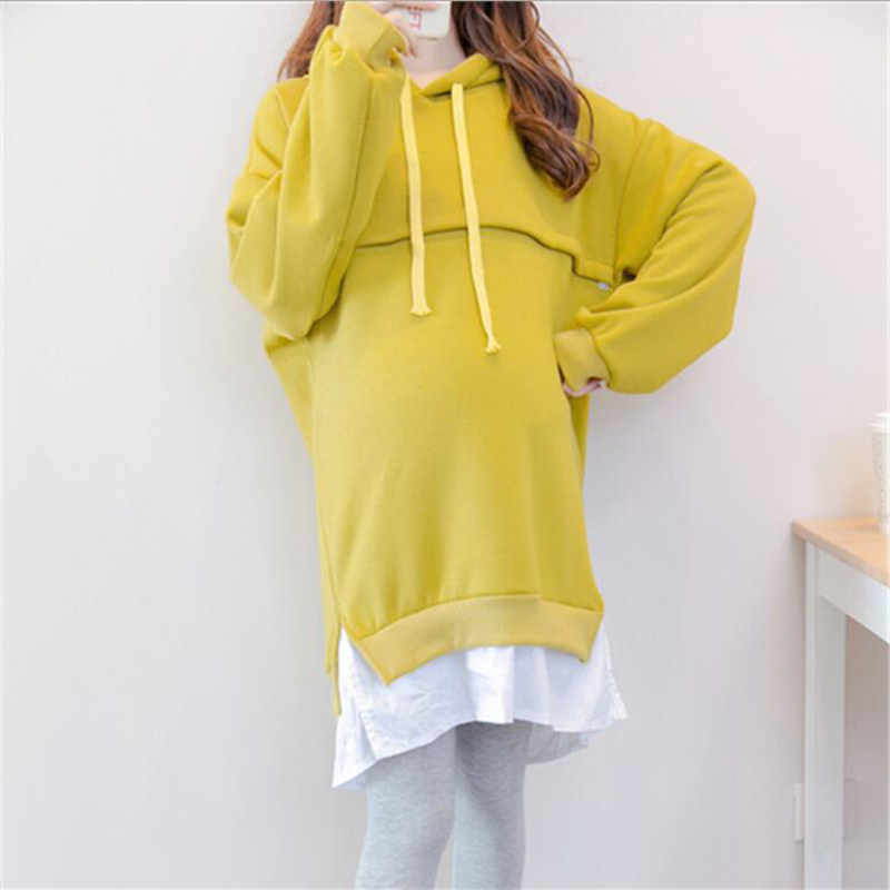 Fashion Winter Clothes For Pregnant Women Nursing Clothes Pregnancy Long Sweaters Plus Size Maternity Breastfeeding Hoodie W006
