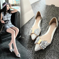 2016 novas Mulheres da moda sapatos baixos Mulheres doces sapatos arco de diamante apontou sapatos de prata de ouro transparente