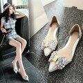 2016 nuevas Mujeres de la moda los zapatos planos de diamantes arco zapatos de punta de oro plata transparente dulce zapatos de Las Mujeres