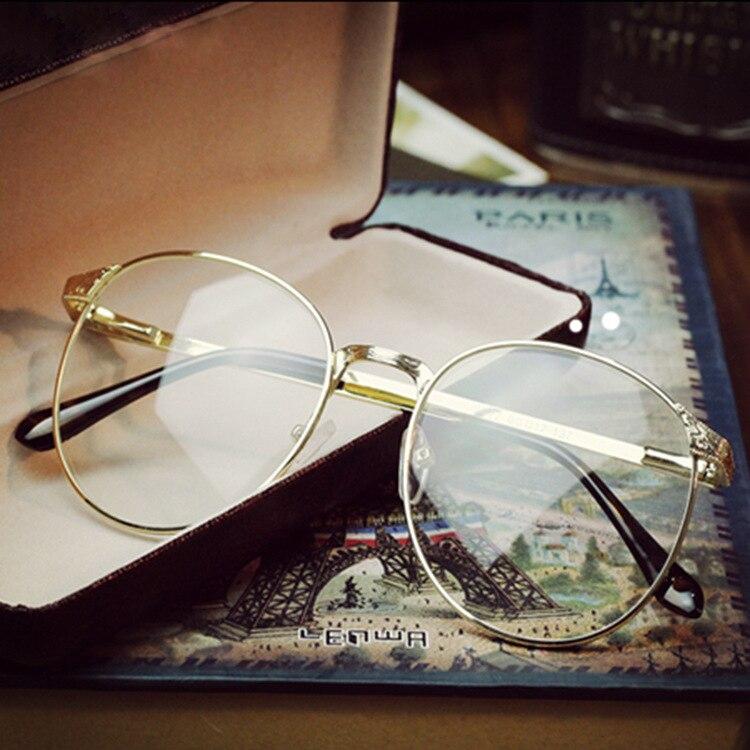 be05ee0e5b1 Vintage Unisex Retro Round Women Titanium Eyeglasses Frames Men Brand  Eyewear Gold Shield Frame With Optical Clear Lens Glasses-in Eyewear Frames  from ...