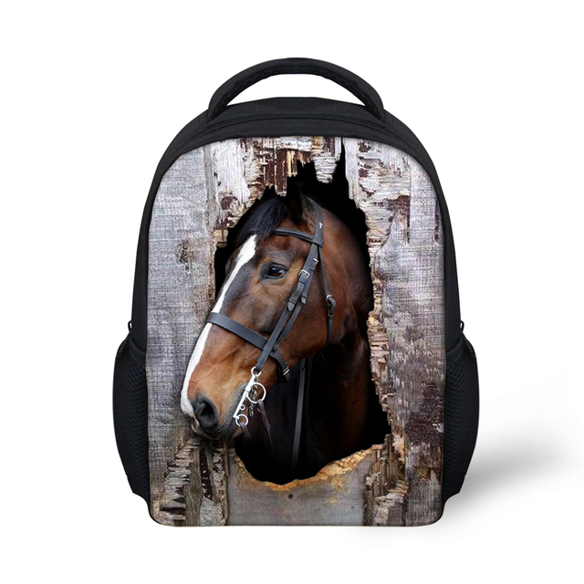 8f3eb9db51 Zoo 3D Animal Crazy Horse Print Children School Bags for Kids Schoolbag  Kindergarten Casual Bookbag Mochila