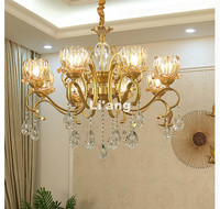 European Modern Gold Bronze Candle Chandelier K9 Crystal LED AC Light Antique Brass Lighting Modern Decoration Lamp Bedroom Lamp