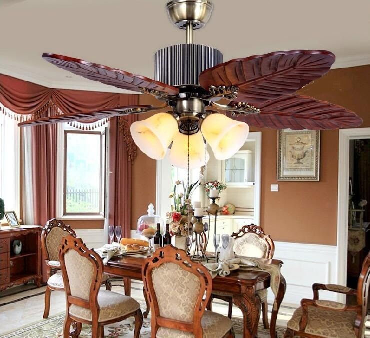 Antique Wood Ceiling Fan Lamp European Solid Living Room Lights Restaurant