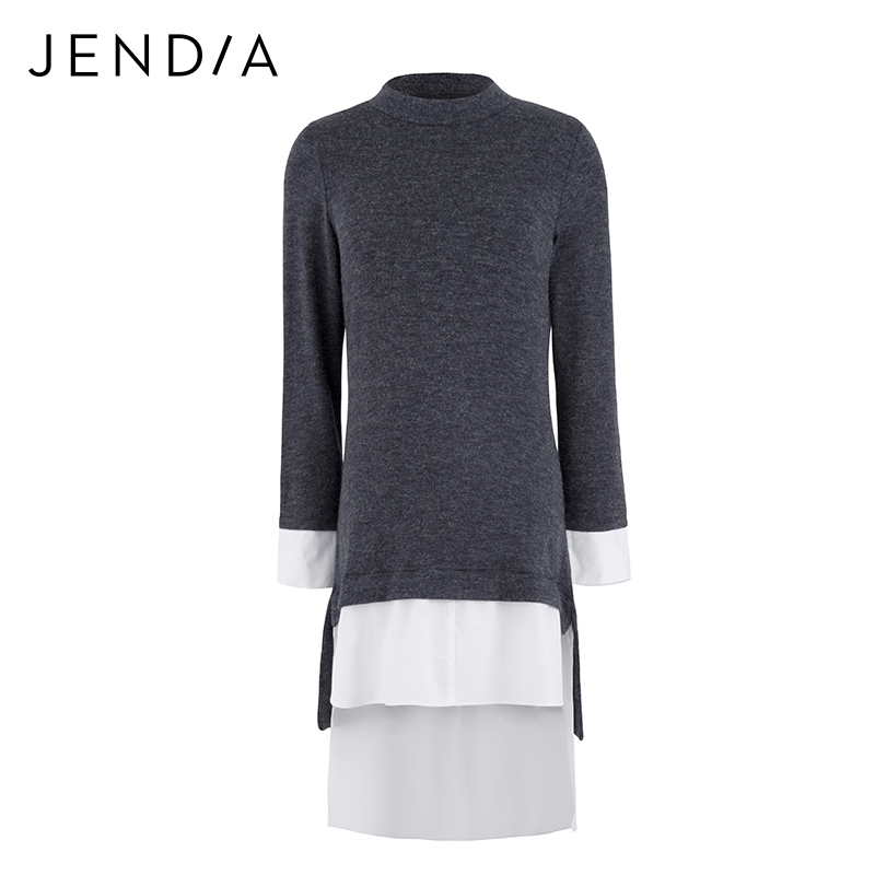 JENDIA 2018 Hot Sale Vintage Knitted Dress Women Casual Long Sleeve Blue Dress Spring Fashion Stitching Dresses High Quality hot sale jeans for women casual pencil fashion vintage spliced hole retro jean trousers xs xl dropshipping ad9678