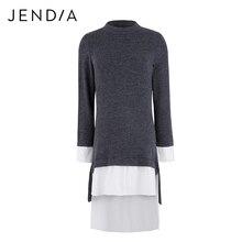 Jendia 2018 Лидер продаж Винтаж вязаное платье Для женщин Повседневное с длинным рукавом голубое платье Весенняя мода шить Платья для женщин высокое качество