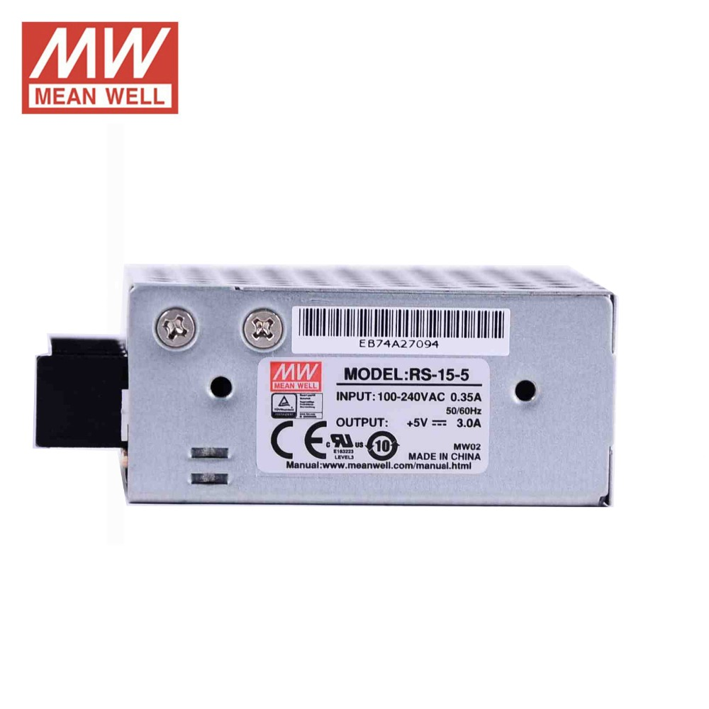 HTB1X4ska.AKL1JjSZFkq6y8cFXax - ac dc power source 5V 3A 15W Original Meanwell Switch Power Supply RS-15-5 Miniature size 300VAC input surge SMPS PSU 5V DC