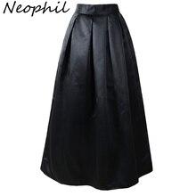 Neophil 100 см черные Базовые Женские мусульманские длинные плиссированные юбки с завышенной талией дамское бальное платье Скейтер клеш Saia Longa MS08025