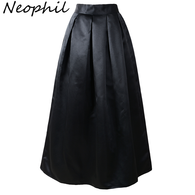 Neophil 100cm Black Basic Muslim Women Maxi Long Pleated Skirts High Waist 2020 Ladies Ball Gown Skater Flare Saia Longa MS08025