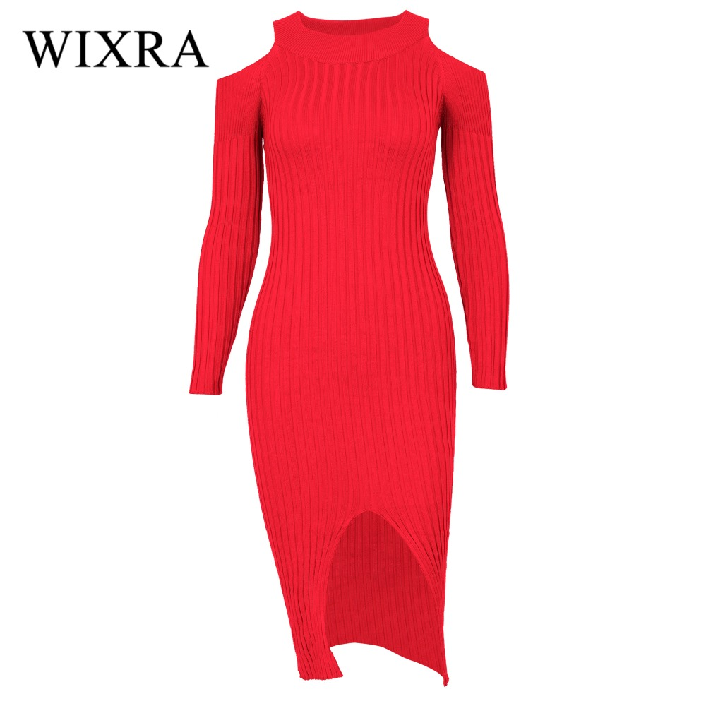Wixra Warm and Charm Off the Shoulder Knitted Sweater Dress Women Winter 2017 Long Sleeve Gray Wine Red Black Sexy Party Dresses fo 84007 статуэтка мал сомелье the wine taster forchino 856442