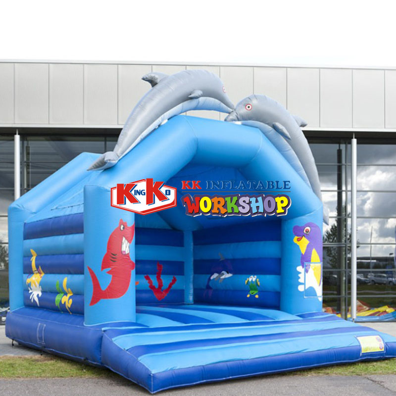 Children Cartoon Dophin Jumping Castle Inflatable Toy/ Cheap Inflatable Garden Bouncer Castle