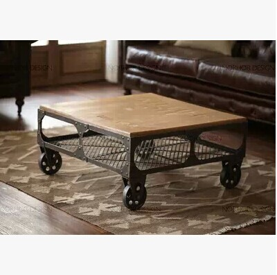 American Vintage Wrought Iron Coffee Table Mobile Parlor Tables Small Sofa Side