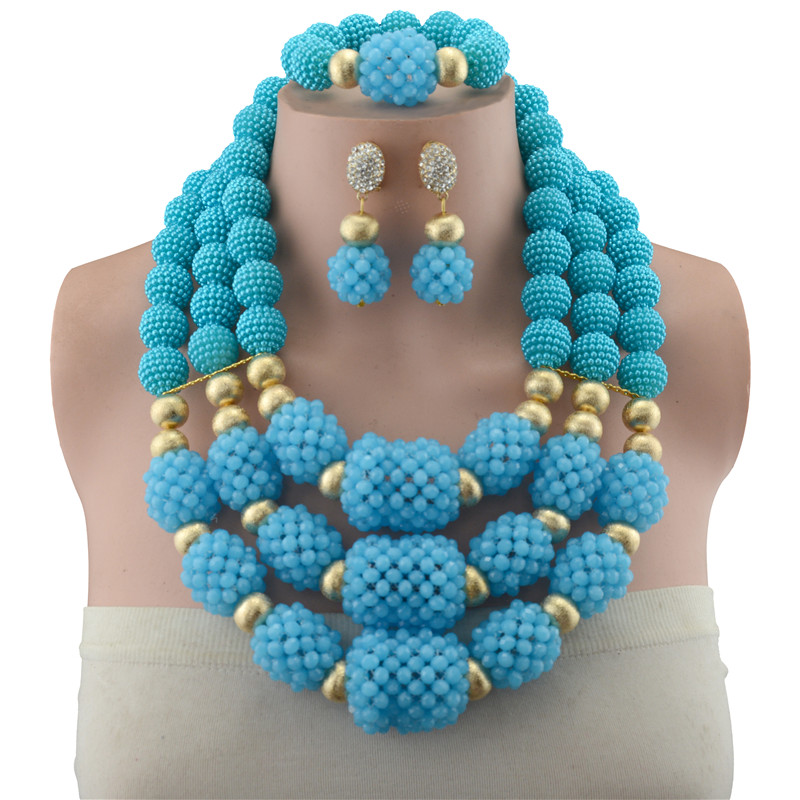 2018 Bridal Gift Nigerian Wedding African Beads Jewelry Set Brand Women Fashion Dubai Gold Color Copper Beads Jewelry Set
