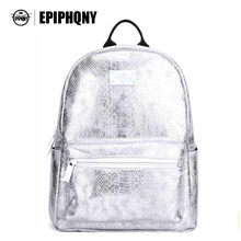 Epiphqny Brand Silver White Women Bagpack Serpentine Fashion Design Female PU Leather Backpack School Back Pack Bag for Lady