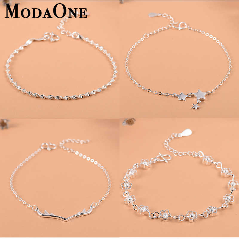 ModaOne  925 Sterling Silver Flower Star Charm Bracelet For Women Girls Luxury Brand Heart Cute Anklet Jewelry Pulseras Mujer