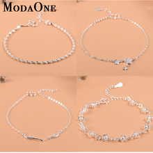 ModaOne  925 Sterling Silver Flower Star Charm Bracelet For Women Girls Luxury Brand Heart Cute Anklet Jewelry Pulseras Mujer zoziri 100% 925 sterling silver 3 clover leaf bracelet luxury brand imitation jewelry for women girls zircon flower bracelet