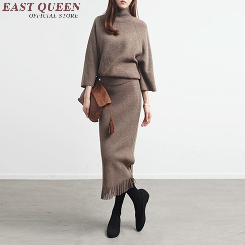 Womens two piece sets 2017 women elegant skirt suits female knit skirt suit Winter Knitted Skirts Sweater 2pcs Suits AA2979 Y