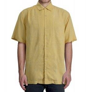 """Image 5 - 8 צבעים 100% משי גבר חולצה ארה""""ב גודל מוצק צבע פרחוני גברים מקרית חולצה מחנה קצר שרוול תורו למטה צווארון בתוספת גדול קיץ"""
